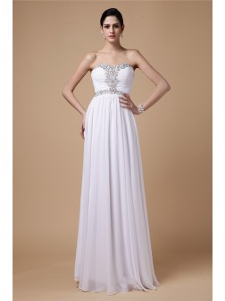 Sheath/Column Strapless Sleeveless Beading Pleats Floor-Length Chiffon Dresses