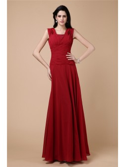 Sheath/Column Beading Pleats Floor-Length Chiffon Dresses
