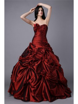Ball Gown Strapless Sleeveless Hand-Made Flower Floor-Length Taffeta Dresses
