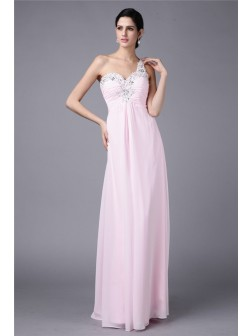 Sheath/Column One-Shoulder Sleeveless Beading Applique Floor-Length Chiffon Dresses