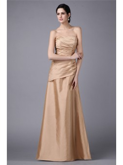 Sheath/Column Strapless Sleeveless Pleats Floor-Length Taffeta Dresses