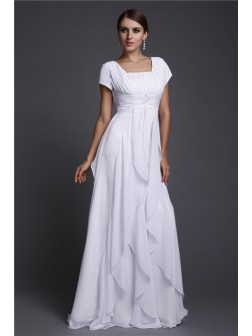 A-Line/Princess Square Neck Short Sleeves Ruffles Floor-Length Chiffon Dresses