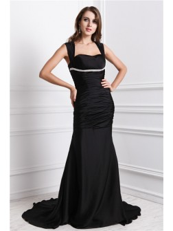 Trumpet/Mermaid Straps Sleeveless Sweep/Brush Train Beading Charmeuse Dresses