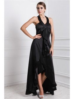 A-Line/Princess Bateau Ruffles Sleeveless Asymmetrical Silk like Satin Dresses