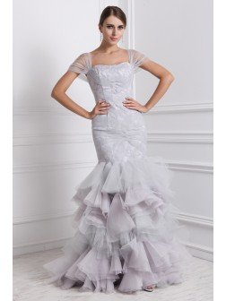 Trumpet/Mermaid Straps Short Sleeves Ruffles Floor-Length Organza Dresses