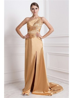 A-Line/Princess One-Shoulder Sleeveless Sweep/Brush Train Beading Elastic Woven Satin Dresses