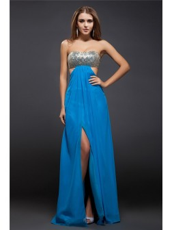 Sheath/Column Strapless Sequin Lace Sleeveless Floor-Length Chiffon Dresses