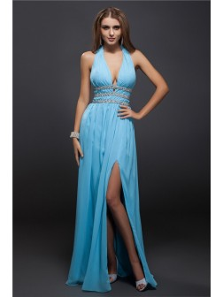 Sheath/Column V-neck Beading Sleeveless Floor-Length Chiffon Dresses