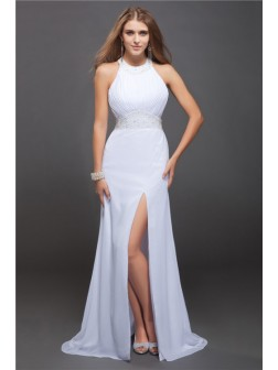 Sheath/Column Jewel Sleeveless Beading Ruffles Floor-Length Chiffon Dresses