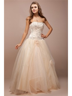 Ball Gown Strapless Sleeveless Lace Floor-Length Beading Net Satin Prom Dresses
