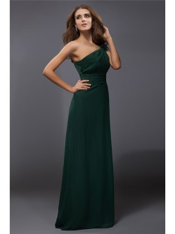 Sheath/Column One-Shoulder Ruffles Sleeveless Floor-Length Chiffon Dresses