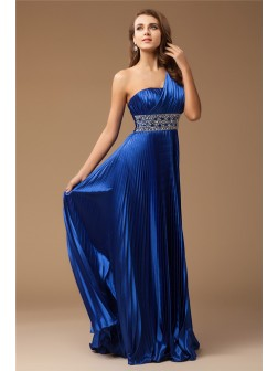 Sheath/Column One-Shoulder Sleeveless Floor-Length Beading Elastic Woven Satin Dresses
