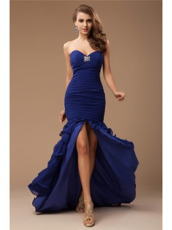 Trumpet/Mermaid Sweetheart Sleeveless Ruffles Beading Sweep/Brush Train Chiffon Dresses