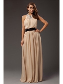 Sheath/Column Jewel Beading Sleeveless Floor-Length Chiffon Dresses