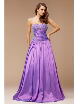 A-Line/Princess Strapless Beading Sleeveless Floor-Length Taffeta Dresses