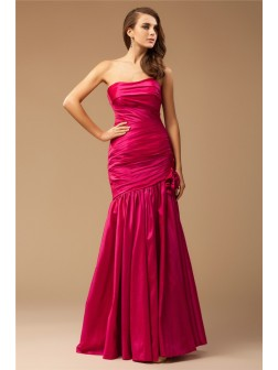 Trumpet/Mermaid Strapless Sleeveless Ruffles Floor-Length Taffeta Dresses