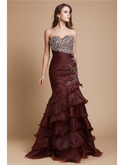 Trumpet/Mermaid Sweetheart Beading Sleeveless Floor-Length Organza Dresses