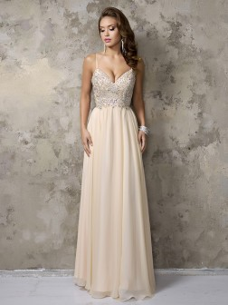 A-Line/Princess Sleeveless Chiffon Spaghetti Straps Beading Floor-Length Dresses