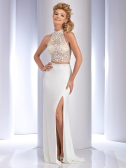 Sheath/Column Sleeveless High Neck Jersey Sweep/Brush Train Rhinestone Two Piece Dresses