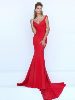 Trumpet/Mermaid Sleeveless V-neck Jersey Sweep/Brush Train Dresses