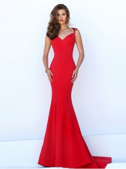 Trumpet/Mermaid Sweetheart Sleeveless Jersey Sweep/Brush Train Dresses