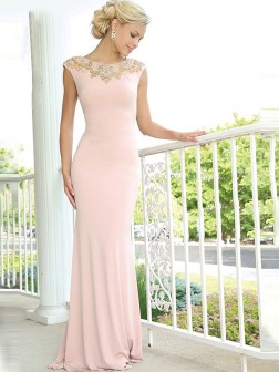 Trumpet/Mermaid Sleeveless Scoop Jersey Beading Sweep/Brush Train Dresses