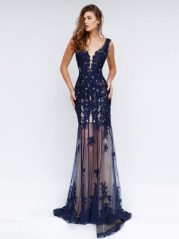 Sheath/Column Sleeveless V-neck Net Applique Sweep/Brush Train Dresses