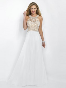 A-Line/Princess Scoop Sleeveless Chiffon Beading Floor-Length Dresses