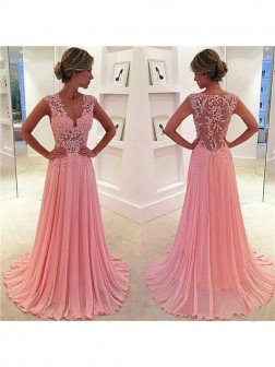 A-Line/Princess Sleeveless Chiffon Lace V-neck Sweep/Brush Train Dresses