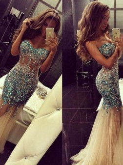 Trumpet Mermaid Sweetheart Sleeveless Rhinestone Sweep Brush Train Tulle Dresses