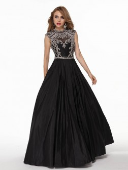 Ball Gown Short Sleeves Taffeta High Neck Applique Floor-Length Dresses