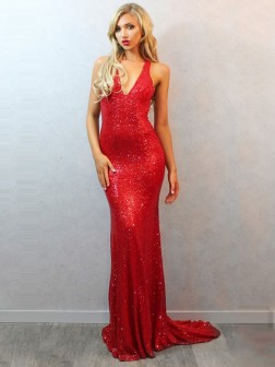 Trumpet/Mermaid Sleeveless V-neck Sequins Court Train Dresses
