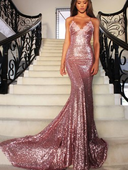 Trumpet/Mermaid V-neck Sweep/Brush Train Sleeveless Sequins Ruffles Dresses