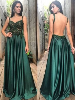 A-Line/Princess Straps Sleeveless Floor-Length Applique Ruched Satin Dresses