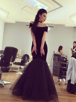 Trumpet/Mermaid Off-the-Shoulder Short Sleeves Floor-Length Tulle Dresses