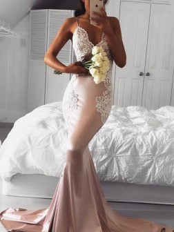 Trumpet/Mermaid Straps V-neck Sleeveless Applique Sweep/Brush Train Satin Dresses