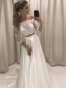 A-Line/Princess Off-the-Shoulder 3/4 Sleeves Sweep/Brush Train Lace Satin Wedding Dresses