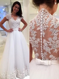 A-Line/Princess V-neck Sleeveless Floor-Length Applique Tulle Wedding Dresses