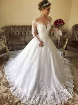 Ball Gown Off-the-Shoulder Long Sleeves Sweep/Brush Train Lace Tulle Wedding Dresses