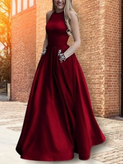 A-Line/Princess Halter Sleeveless Floor-Length Beading Satin Dresses