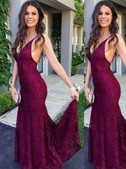 Trumpet/Mermaid Sleeveless V-neck Sweep/Brush Train Lace Dresses