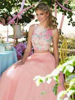 A-Line/Princess Sleeveless Scoop Floor-Length Lace Tulle Dresses