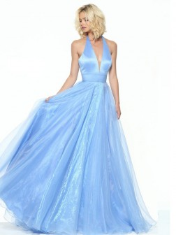 A-Line/Princess V-neck Sleeveless Floor-Length Organza Dresses