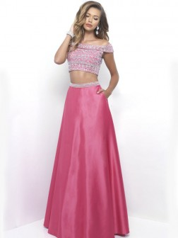 A-Line/Princess Off-the-Shoulder Sleeveless Floor-Length Beading Satin Dresses