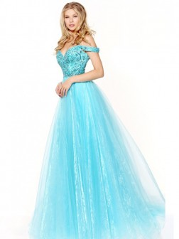 A-Line/Princess Off-the-Shoulder Sleeveless Floor-Length Beading Organza Dresses