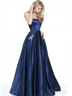 A-Line/Princess Strapless Sleeveless Floor-Length Beading Satin Dresses