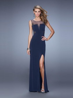 A-Line/Princess Scoop Sleeveless Floor-Length Applique Jersey Dresses