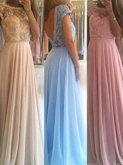 A-Line/Princess Sleeveless Scoop Floor-Length Beading Chiffon Dresses