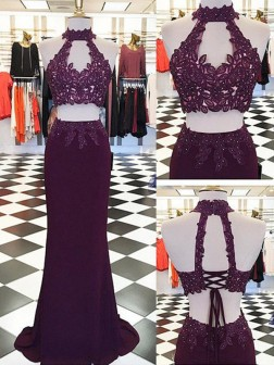 Sheath/Column Halter Applique Floor-Length Sleeveless Satin Two Piece Dresses