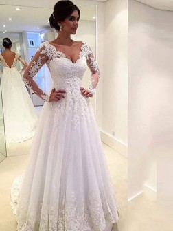 accef3d719c Ball Gown V-neck Long Sleeves Lace Court Train Tulle Wedding Dresses